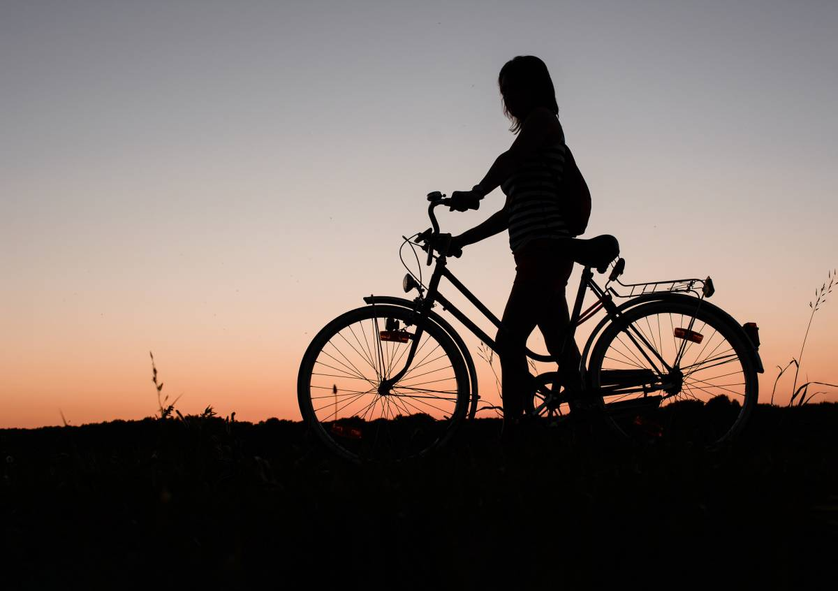 Cyclist silhouette at sunset