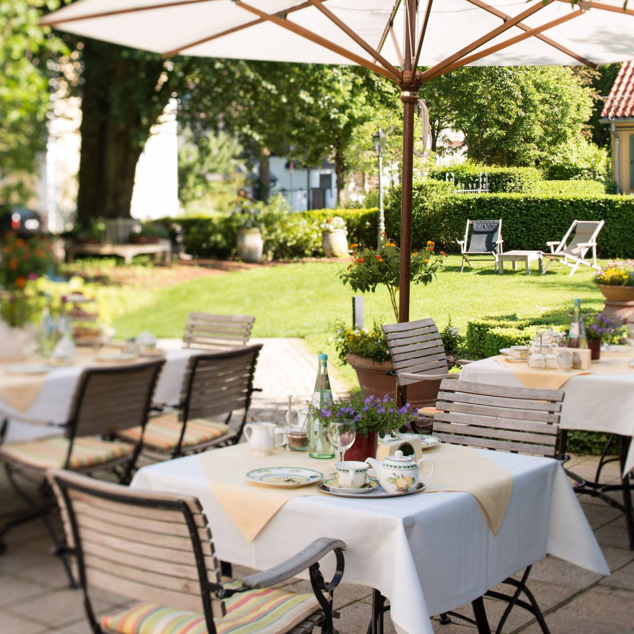 Terrace in Hotel Seitner Hof in Pullach in the Isar Valley