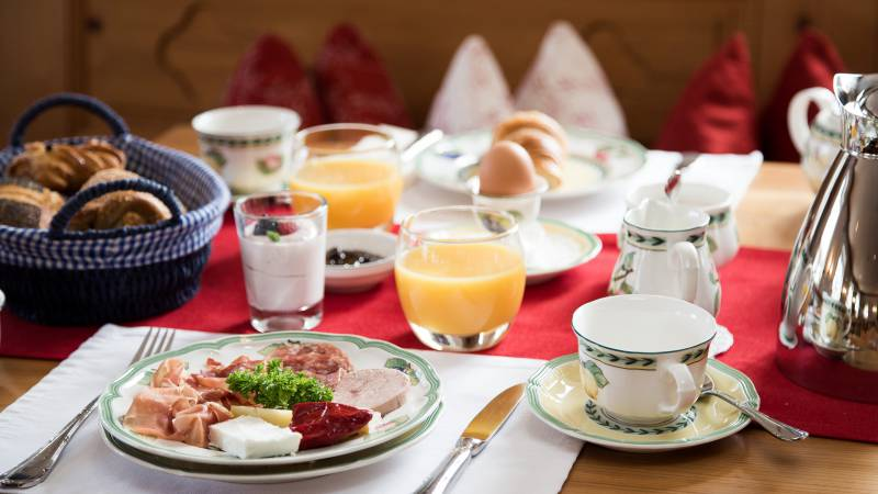 Rich breakfast buffet in the Hotel Seitner Hof in Pullach in the Isar Valley